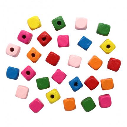 Бусины деревянные, цветной микс,куб, 10мм, 18гр/упак, Астра 4AR397 Яркий