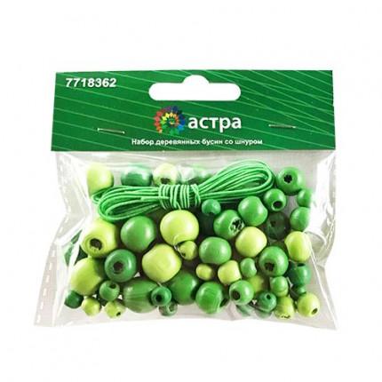 Набор деревянных бусин со шнуром «Астра» 160816 зеленый микс 90шт/упак (6,8,10,12мм)