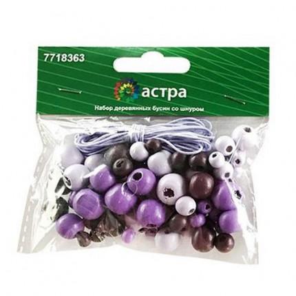 Набор деревянных бусин со шнуром «Астра» 160817 фиолетовый микс 90шт/упак (6,8,10,12мм)