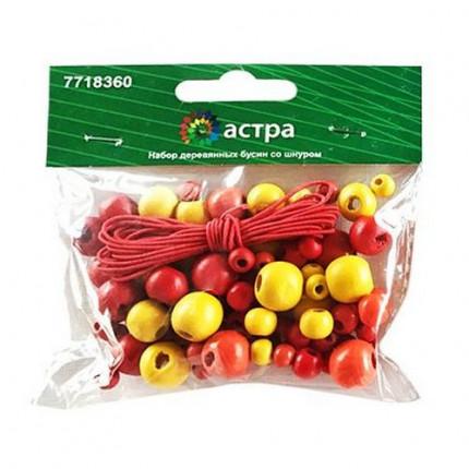 Набор деревянных бусин со шнуром «Астра» 160814 красный микс 90шт/упак (6,8,10,12мм)