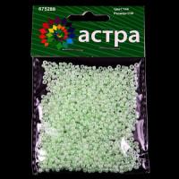 Астра 675288-00018 Бисер, (стекло), 11/0, упак./20 гр., 'Астра' (144 зеленый/жемчужный)