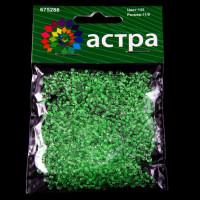 Астра 675288-00124 Бисер, (стекло), 11/0, упак./20 гр., 'Астра' (135 зелёный/прозр.с цвет центром)