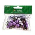 Астра 7718363 Набор деревянных бусин со шнуром фиолетовый микс