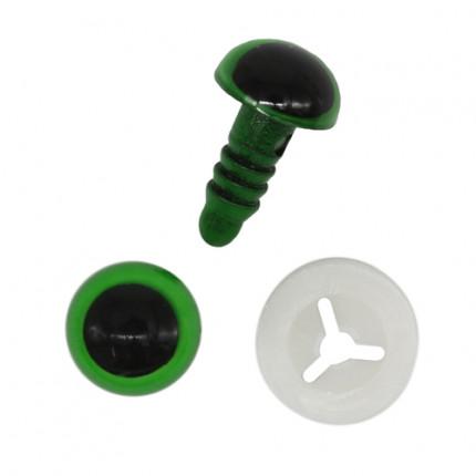 Глазки пластиковые с фиксатором 10мм, 24шт/упак (зеленый) (арт. 7722412)