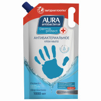 """AURA 10363 Мыло-крем жидкое антибактериальное 1 л AURA DERMA PROTECT """"Чайное дерево и тимьян"""", дой-пак, 10363"""