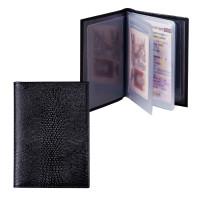 """BEFLER BV.1-3 Бумажник водителя BEFLER """"Ящерица"""", натуральная кожа, тиснение, 6 пластиковых карманов, черный, BV.1-3"""