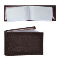 "BEFLER K.5.-9 Визитница карманная BEFLER ""Грейд"" на 40 визитных карт, натуральная кожа, тиснение, коричневая, K.5.-9"