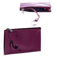 """BEFLER KL.24.-1 Футляр для ключей BEFLER """"Изящная кошка"""", натуральная кожа, тиснение, молния, 130x85 мм, фиолетовый, KL.24.-1"""