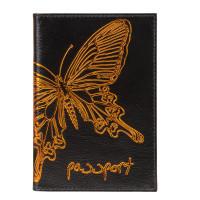 """BEFLER O.14.-11 Обложка для паспорта BEFLER """"Бабочка"""", натуральная кожа, тисненение-принт, черная, O.14.-11"""