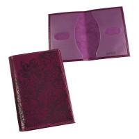 """BEFLER O.32.-1 Обложка для паспорта BEFLER """"Гипюр"""", натуральная кожа, тиснение, фиолетовая, O.32.-1"""