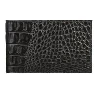 "BEFLER V.30.-13 Визитница карманная BEFLER ""Кайман"", на 40 визиток, натуральная кожа, крокодил, черная, V.30.-13"