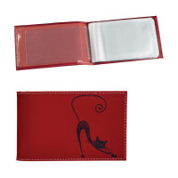 "BEFLER V.37.-1 Визитница карманная BEFLER ""Изящная кошка"" на 40 визиток, натуральная кожа, тиснение, красная, V.37.-1"