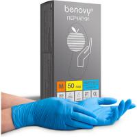 BENOVY  Перчатки нитриловые смотровые КОМПЛЕКТ 50 пар (100 шт.), размер M (средний), голубые, BENOVY Nitrile Chlorinated