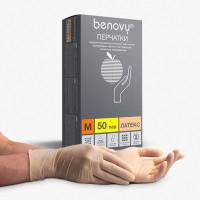 BENOVY  Перчатки латексные смотровые КОМПЛЕКТ 50 пар (100 шт.), размер M (средний), бежевые, BENOVY Latex Chlorinated