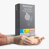 BENOVY  Перчатки латексные смотровые КОМПЛЕКТ 50 пар (100 шт.), размер L (большой), бежевые, BENOVY Latex Chlorinated