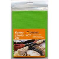 "Bestex 00000067639 Канва ""Bestex"" 624010-14C/T 209, 50*50 см, цвет св.зеленый"