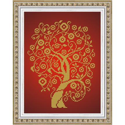 Рисунок на ткани К-4026 Дерево изобилия и достатка в золоте (арт. К-4026)