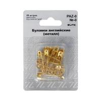 "BLITZ  Булавки английские ""BLITZ"" №0 28 мм под золото железо в блистере 25 шт PAZ-0"