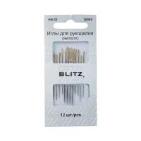 """BLITZ HN-32 300Е5 Иглы для шитья ручные """"BLITZ"""" HN-32 300Е5 для рукоделия в блистере 12 шт. никель"""