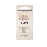 """BLITZ HN-32 300М Иглы для шитья ручные """"BLITZ"""" HN-32 300М для рукоделия в блистере 16 шт. никель"""
