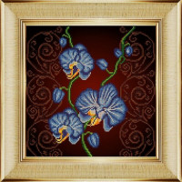 """БОЖЬЯ КОРОВКА 0031_НИК Рисунок на ткани «Божья коровка» 0031 """"Орхидея голубая"""" 30х30 см ,Схема для вышивки бисером"""