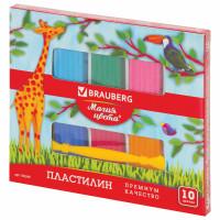 """Brauberg 103349 Пластилин классический BRAUBERG """"МАГИЯ ЦВЕТА"""", 10 цветов, 250 г, со стеком, ВЫСШЕЕ КАЧЕСТВО, 103349"""