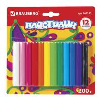 Brauberg 103350 Пластилин классический BRAUBERG 12 цветов, 200 г, ВЫСШЕЕ КАЧЕСТВО, блистер, 103350
