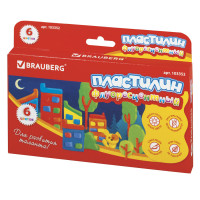 Brauberg 103352 Пластилин флуоресцентный BRAUBERG, 6 цветов, 90 г, со стеком, картонная упаковка, 103352