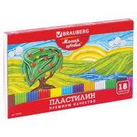 """Brauberg 103358 Пластилин классический BRAUBERG """"МАГИЯ ЦВЕТА"""", 18 цветов, 360 г, со стеком, высшее качество, картонная упаковка, 103358"""