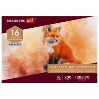 Brauberg 105910 Альбом для акварели, бумага ИТАЛИЯ 200г/м 25% хлопок 120х170мм, 16л, BRAUBERG ART PREMIERE, 105910