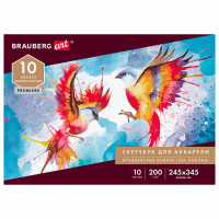 Brauberg 105911 Альбом для акварели, бумага ИТАЛИЯ 200г/м 25% хлопок 245х345мм, 10л, BRAUBERG ART PREMIERE, 105911