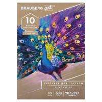 Brauberg 105916 Альбом для пастели, картон СЕРЫЙ некрашенный 630 г/м2, 207х297 мм, 10 л., BRAUBERG ART CLASSIC, 105916