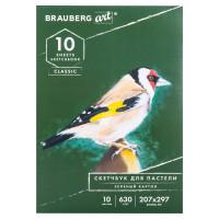 Brauberg 105920 Альбом для пастели, картон ЗЕЛЕНЫЙ тонированный 630 г/м2, 207x297 мм, 10 л., BRAUBERG ART CLASSIC, 105920