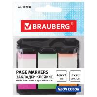 Brauberg 122732 Закладки клейкие BRAUBERG НЕОНОВЫЕ пластиковые, 48х20 мм, 3 цвета х 20 листов, в пластиковом диспенсере, 122732