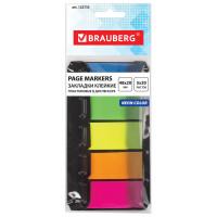 Brauberg 122733 Закладки клейкие BRAUBERG НЕОНОВЫЕ пластиковые, 48х20 мм, 5 цветов х 20 листов, в диспенсере, 122733