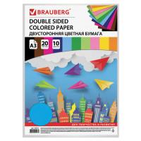 Brauberg 124713 Цветная бумага БОЛЬШОГО ФОРМАТА А3 ТОНИРОВАННАЯ В МАССЕ, 20 листов, 10 цветов, 80 г/м2, BRAUBERG, 124713