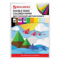 Brauberg 124715 Цветная бумага А4 ТОНИРОВАННАЯ В МАССЕ, 100 листов 10 цветов, склейка, 80 г/м2, BRAUBERG, 210х297 мм, 124715