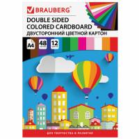 Brauberg 124744 Картон цветной А4 ТОНИРОВАННЫЙ В МАССЕ, 48 листов 12 цветов, склейка, 180 г/м2, BRAUBERG, 210х297 мм, 124744