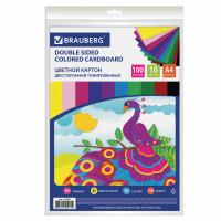 Brauberg 124745 Картон цветной А4 ТОНИРОВАННЫЙ В МАССЕ, 100 листов 10 цветов, 220 г/м2, BRAUBERG, 124745