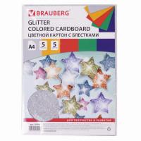 "Brauberg 124748 Картон цветной А4 ""СУПЕРБЛЕСТКИ"", 5 листов 5 цветов, 280 г/м2, BRAUBERG, 124748"