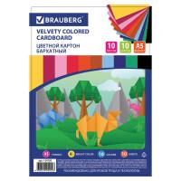 Brauberg 124756 Картон цветной МАЛОГО ФОРМАТА, А5, БАРХАТНЫЙ, 10 листов, 10 цветов, 180 г/м2, BRAUBERG, 124756