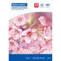 """Brauberg 125223 Бумага для акварели БОЛЬШАЯ А2, 10 л., 200 г/м2, 400х590 мм, BRAUBERG, """"Цветы"""", 125223"""