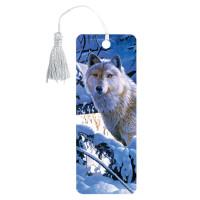 "Brauberg 125752 Закладка для книг 3D, BRAUBERG, объемная, ""Белый волк"", с декоративным шнурком-завязкой, 125752"