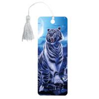 "Brauberg 125754 Закладка для книг 3D, BRAUBERG, объемная, ""Белый тигр"", с декоративным шнурком-завязкой, 125754"