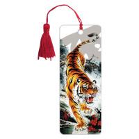 "Brauberg 125755 Закладка для книг 3D, BRAUBERG, объемная, ""Бенгальский тигр"", с декоративным шнурком-завязкой, 125755"