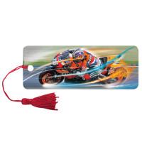 "Brauberg 125769 Закладка для книг 3D, BRAUBERG, объемная, ""Мотогонки"", с декоративным шнурком-завязкой, 125769"