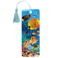 """Brauberg 125779 Закладка для книг 3D, BRAUBERG, объемная, """"Экзотические рыбки"""", с декоративным шнурком-завязкой, 125779"""