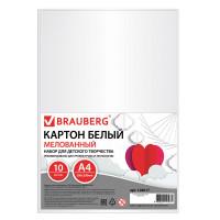 Brauberg 128017 Картон белый А4 МЕЛОВАННЫЙ (глянцевый), 10 листов, BRAUBERG, 200х290 мм, 128017