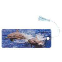 """Brauberg 128094 Закладка для книг с линейкой, 3D-объемная, BRAUBERG """"Дельфины"""", с декоративным шнурком, 128094"""