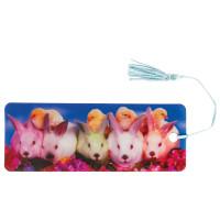 """Brauberg 128097 Закладка для книг с линейкой, 3D-объемная, BRAUBERG """"Кролики и цыплята"""", с декоративным шнурком, 128097"""